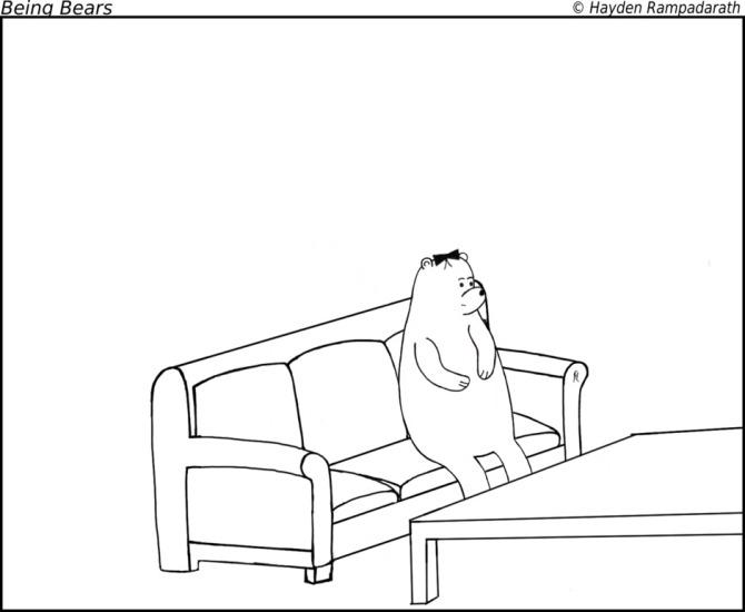 cartoon bear on couch